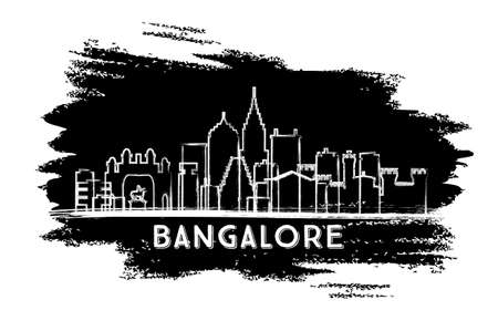 Bangalore India Skyline Silhouette. Hand Drawn Sketch. Business Travel and Tourism Concept with Modern Architecture. Vector Illustration.