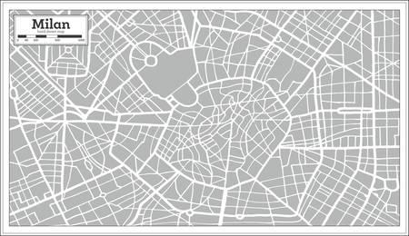 レトロなスタイルでミラノの地図。手描き。ベクトルの図。