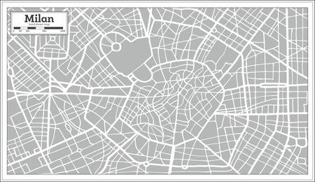 Milan Map in Retro Style. Hand Drawn. Vector Illustration.