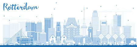 Outline Rotterdam Netherlands Skyline with Blue Buildings. Vector Illustration. Business Travel and Tourism Concept with Modern Architecture. Stock Illustratie