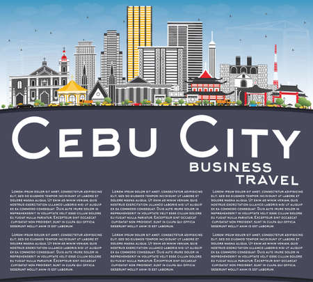 Cebu City Philippines Skyline with Gray Buildings. Illustration