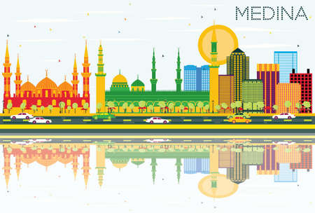 Medina Skyline with Color Buildings, Blue Sky and Reflections.