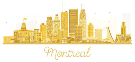 Montreal City skyline golden silhouette. Vector illustration. Business travel concept. Montreal Cityscape with landmarks. Illustration