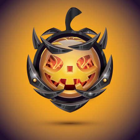 Halloween Pumpkin with Fire Flames on Armor.