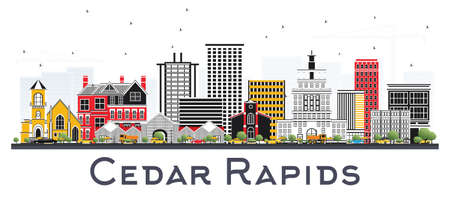 Cedar Rapids Iowa Skyline with Color Buildings Isolated on White Background. Vector Illustration. Business Travel and Tourism Illustration with Historic Architecture. 向量圖像