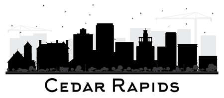 Cedar Rapids Iowa skyline black and white silhouette. Vector illustration. Business travel concept. Cityscape with landmarks.