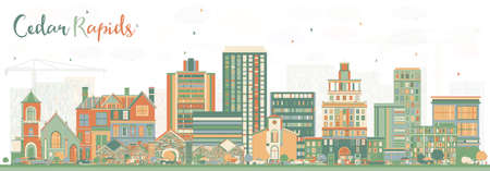 Cedar Rapids Iowa Skyline with Color Buildings. Vector Illustration. Business Travel and Tourism Illustration with Historic Architecture.