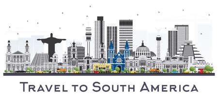 白い背景で隔離の有名なランドマークと南米のスカイライン。ベクトルの図。ビジネス旅行や観光の概念です。  イラスト・ベクター素材