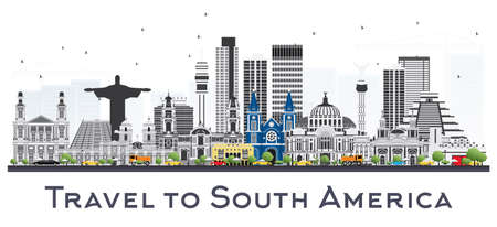 South America Skyline with Famous Landmarks Isolated on White Background. Vector Illustration. Business Travel and Tourism Concept. Иллюстрация