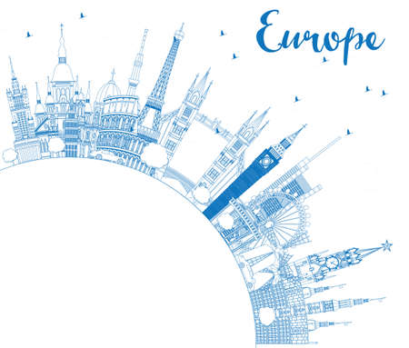 Outline Famous Landmarks in Europe with Copy Space.