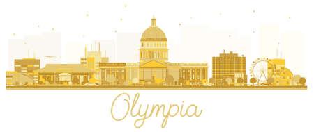 Olympia City skyline golden silhouette.