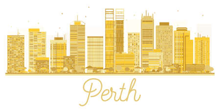 Perth City skyline golden silhouette.