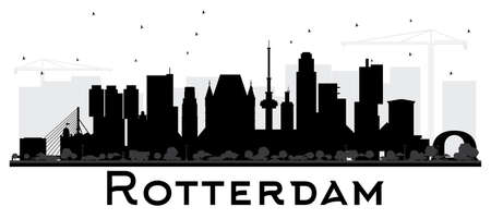 Rotterdam Netherlands skyline black and white silhouette. Vector illustration. Business travel concept. Rotterdam Cityscape with landmarks.