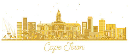 Cape Town South Africa City skyline golden silhouette. Vector illustration. Business travel concept. Cape Town Cityscape with landmarks.