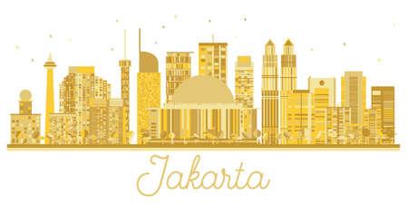 Jakarta Indonesia City skyline golden silhouette. Vector illustration. Business travel concept. Jakarta Cityscape with landmarks.