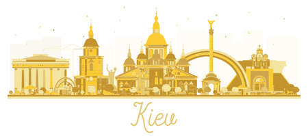 키예프 우크라이나 도시 스카이 라인 황금 실루엣입니다. 벡터 일러스트 레이 션. 비즈니스 여행 개념입니다. 랜드 마크와 키예프 풍경