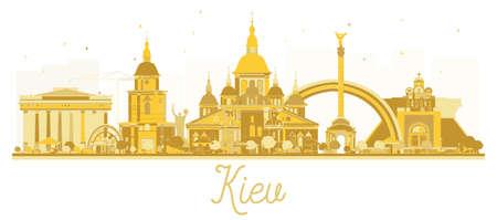 Kiev Ukraine City skyline golden silhouette. Vector illustration. Business travel concept. Kiev Cityscape with landmarks