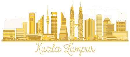 Kuala Lumpur Malaysia City skyline golden silhouette. Vector illustration. Kuala Lumpur Cityscape with landmarks.