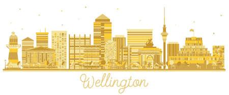 Wellington New Sky skyline gouden silhouet van de stad. Vector illustratie. Zakelijke reizen concept. Wellington Cityscape met bezienswaardigheden.