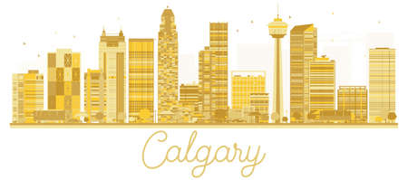 Calgary City skyline golden silhouette. Vector illustration. Business travel concept. Calgary Cityscape with famous landmarks.