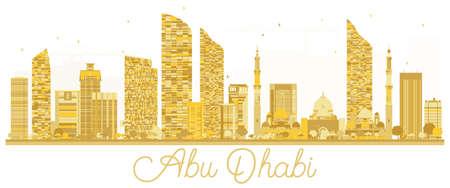 Abu Dhabi City skyline golden silhouette. Vector illustration. Business travel concept. Abu Dhabi Cityscape with landmarks.