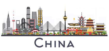 Horizonte de la ciudad de China aislado en el fondo blanco. Lugares famosos en China. Ilustración vectorial Viajes de negocios y concepto de turismo. Imagen para presentación, pancarta, cartel y sitio web.
