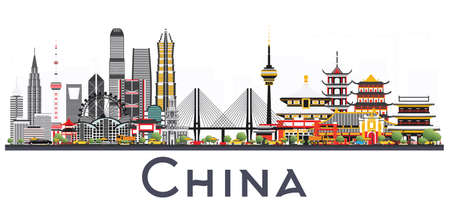 China City Skyline Isolated on White Background. Famous Landmarks in China. Vector Illustration. Business Travel and Tourism Concept. Image for Presentation, Banner, Placard and Web Site.
