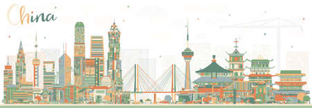 China City Skyline. Famous Landmarks in China. Vector Illustration. Business Travel and Tourism Concept. Image for Presentation, Banner, Placard and Web Site.