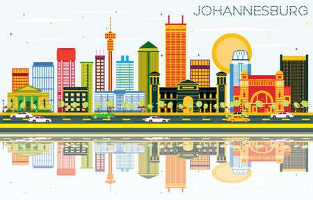 色の建物、青空の反射とヨハネスブルグのスカイライン。ベクトルの図。ビジネス旅行やヨハネスブルグ近代洋風建築観光のコンセプトです。プレ