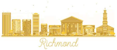 Richmond City skyline golden silhouette. Vector illustration. Business travel concept. Richmond Cityscape with landmarks. Ilustrace