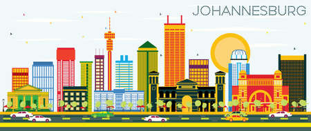 Johannesburg Skyline with Color Buildings and Blue Sky. Vector Illustration. Business Travel and Tourism Concept with Johannesburg Modern Buildings. Image for Presentation and Banner. Illustration