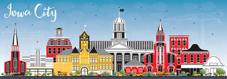 Iowa City Skyline with Color Buildings and Blue Sky. Vector Illustration. Business Travel and Tourism Illustration with Historic Architecture.