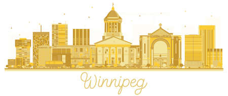 Winnipeg Canada City skyline golden silhouette. Vector illustration. Business travel concept. Cityscape with landmarks. Illustration