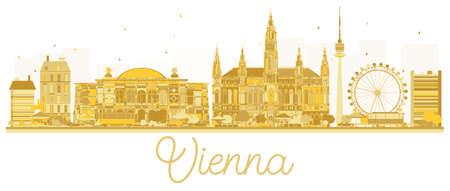 비엔나 도시의 스카이 라인 황금 실루엣입니다. 벡터 일러스트 레이 션. 비즈니스 여행 개념입니다. 비엔나 랜드 마크와 풍경입니다. 일러스트