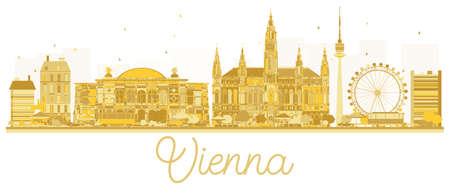 Vienna City skyline golden silhouette. Vector illustration. Business travel concept. Vienna Cityscape with landmarks.