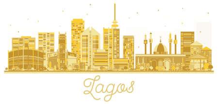 Lagos City skyline golden silhouette. Vector illustration. Business travel concept. Lagos Cityscape with landmarks. Illustration