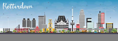 Rotterdam Netherlands Skyline with Gray Buildings and Blue Sky. Vector Illustration. Business Travel and Tourism Concept with Modern Architecture.