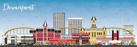Davenport Iowa Skyline with Color Buildings and Blue Sky. Vector Illustration. Business Travel and Tourism Illustration with Historic Architecture. Illustration