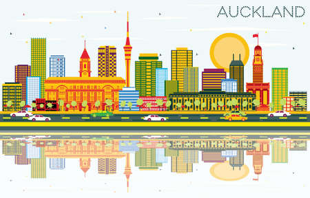 Auckland Skyline with Color Buildings, Blue Sky and Reflections. Vector Illustration. Business Travel and Tourism Concept with Modern Buildings. Image for Presentation Banner Placard and Web Site.