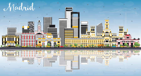 Madrid Spain Skyline with Gray Buildings, Blue Sky and Reflections. Vector Illustration. Business Travel and Tourism Concept with Historic Architecture. Иллюстрация