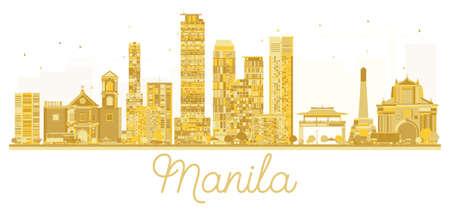 Manilla Filippijnen Stadshorizon gouden silhouet. Vector illustratie. Zakelijke reizen concept. Stadsgezicht met bezienswaardigheden.