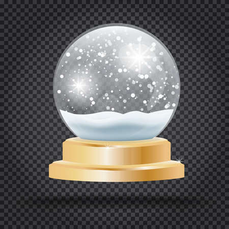 Christmas Crystal Ball with Snow on Transparent Background Vector Illustration. Vettoriali