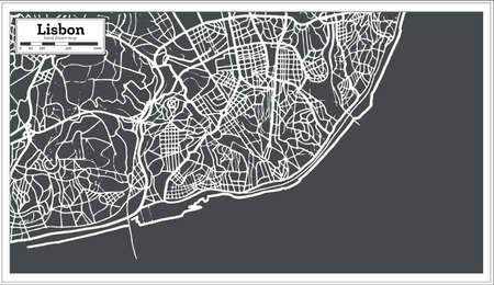 Lisbon Portugal Map in Retro Style Vector Illustration. Illusztráció