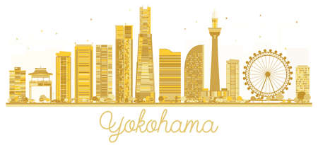 Yokohama Japan City skyline golden silhouette. Business travel concept.