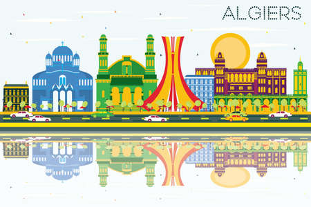 Algiers Skyline with Color Buildings, Blue Sky and Reflections. Vector Illustration.