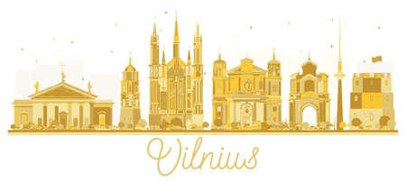 ヴィリニュスのリトアニアの都市スカイラインの黄金シルエット。ベクトルの図。ビジネス旅行の概念。ランドマークとヴィリニュス都市の景観。  イラスト・ベクター素材
