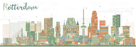 Rotterdam Netherlands Skyline with Color Buildings. Vector Illustration. Business Travel and Tourism Concept with Modern Architecture.
