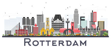Rotterdam Netherlands Skyline with Gray Buildings Isolated on White Background. Vector Illustration. Business Travel and Tourism Concept with Modern Architecture.