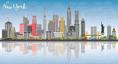 灰色の建物、青空の反射とニューヨーク米国スカイライン。ベクトルの図。ビジネス旅行と観光コンセプト モダンな建築。