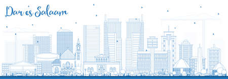 Outline dar es salaam Tanzania skyline with blue buildings. Business travel and tourism concept with modern architecture.